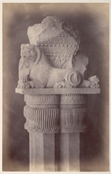 Close view of lion capital of right pillar of East Gate of the Stupa of Bharhut